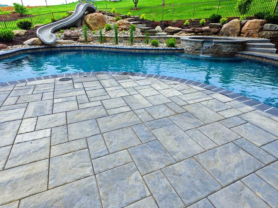 Poolside paver patio