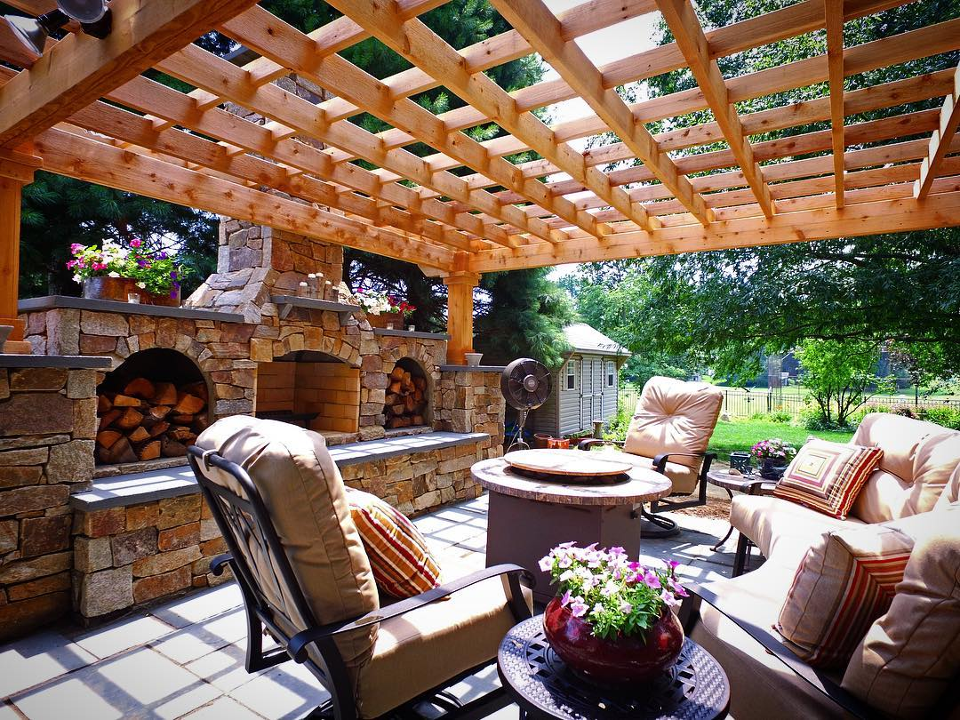 Pergola and patio with fireplace