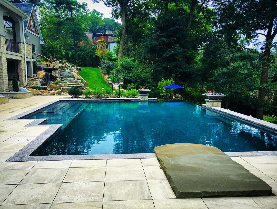 porcelain tile patio and pool