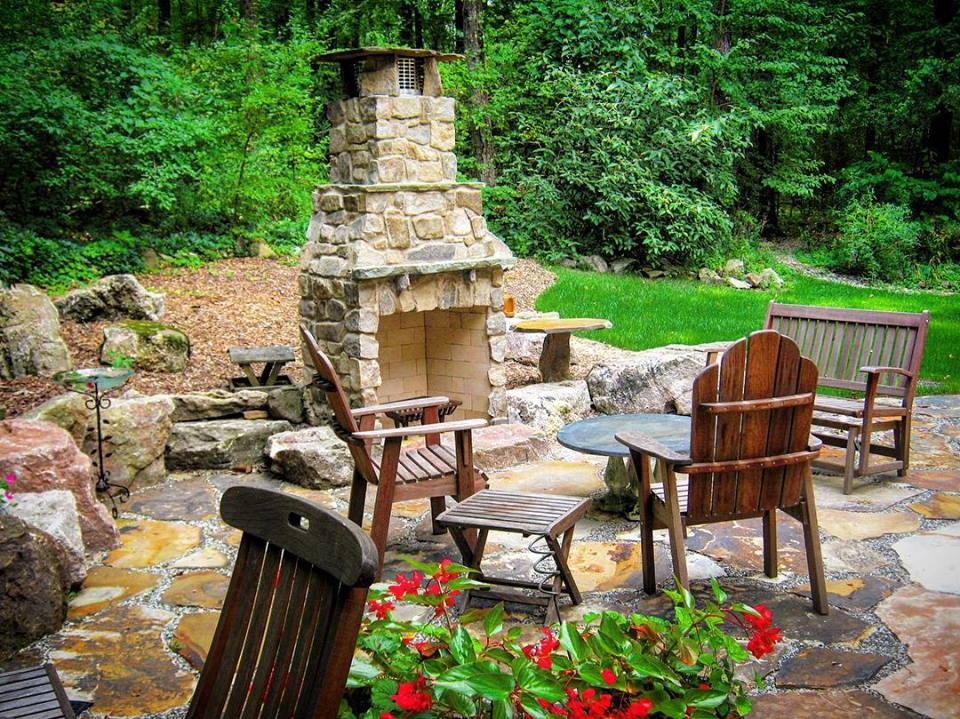 Stone Patio and Fire place