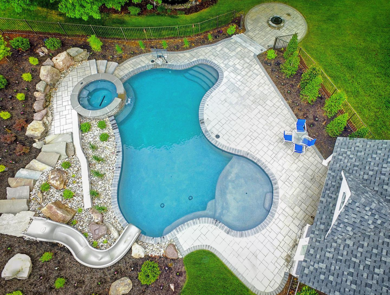 Backyard pool and outdoor living area