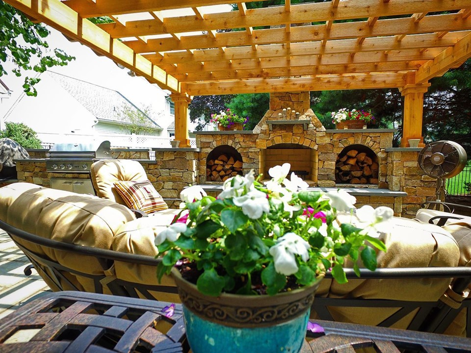 custom fireplace with pergola