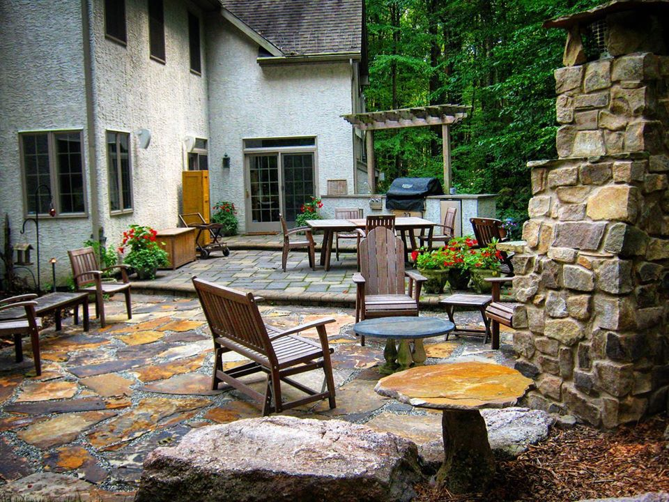 Wooded Patio and Outdoor kitchen