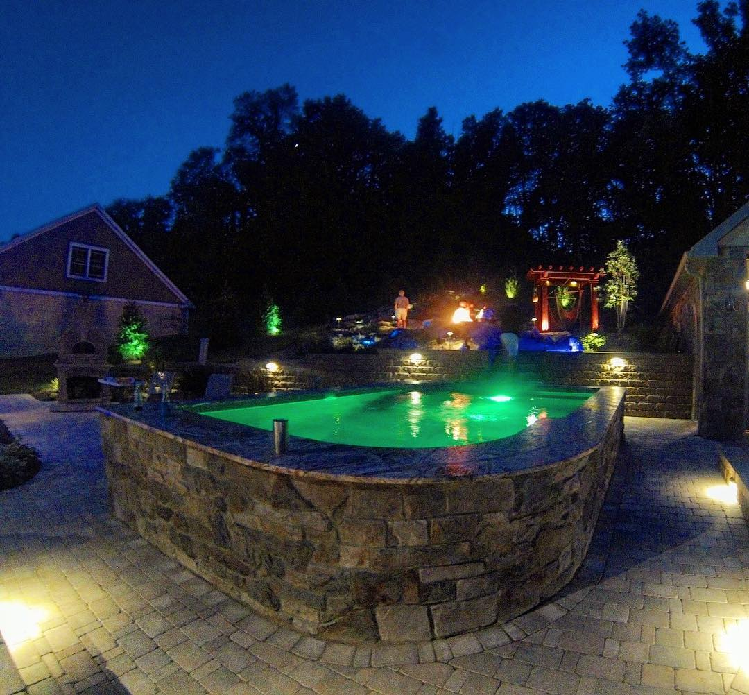 landscape lighting in outdoor living space