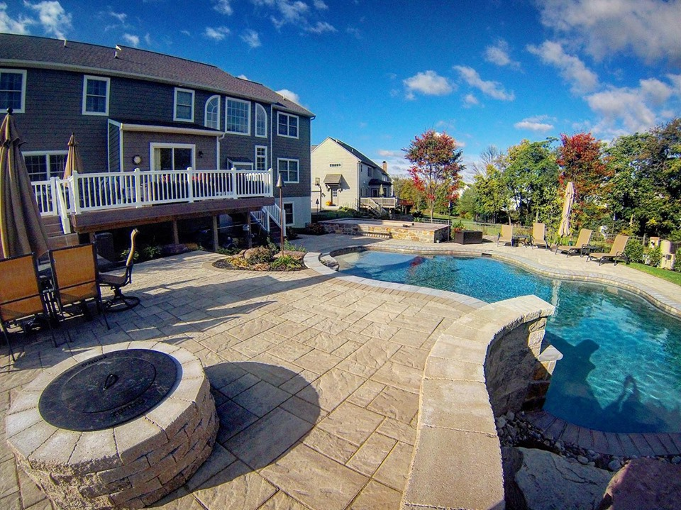 Patio with Fire pit and pool